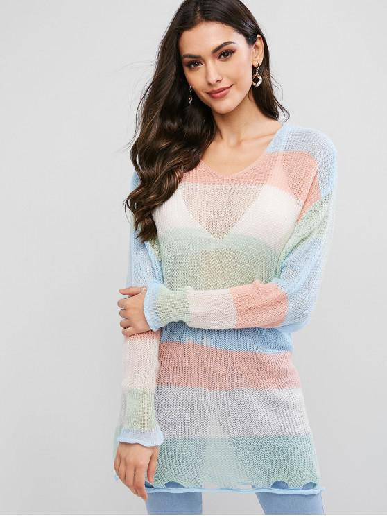shop Color Block V Neck Slit Ripped Hole Hem Sweater - MULTI-A ONE SIZE