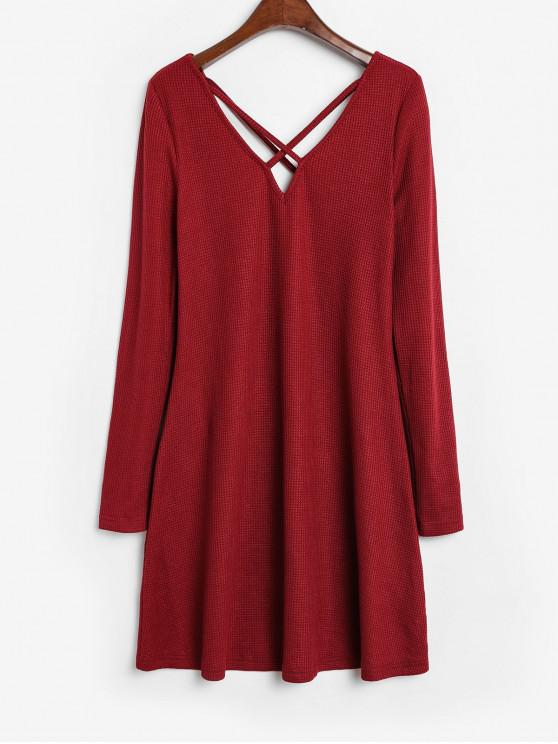 hot ZAFUL Crisscross Knit Trapeze Dress - BLOOD RED XL