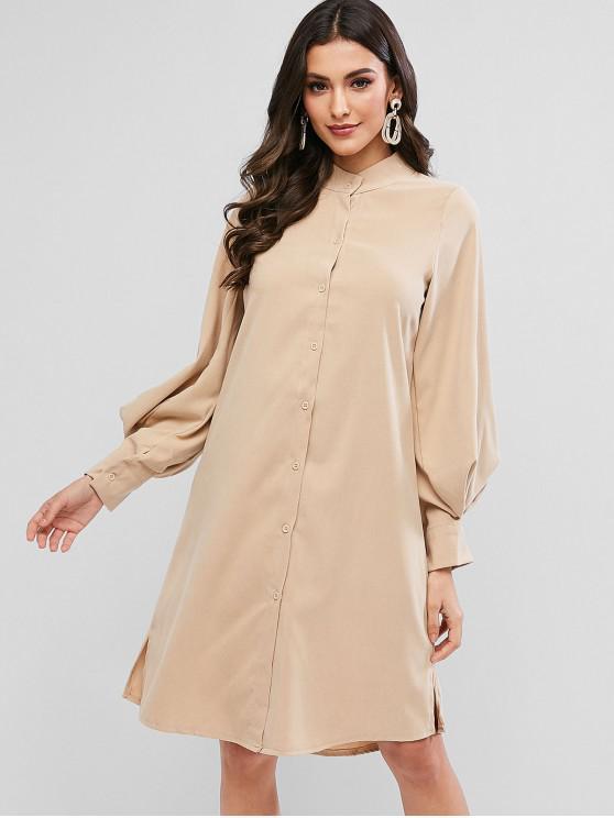 chic Lantern Sleeve Slit Button Up Shift Shirt Dress - LIGHT KHAKI XL