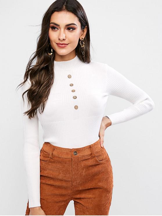 Suéter de cuello alto sin mangas con botones finos - Blanco Talla única