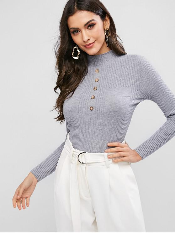 fashion Slim Pullover Buttoned Mock Neck Sweater - GRAY ONE SIZE
