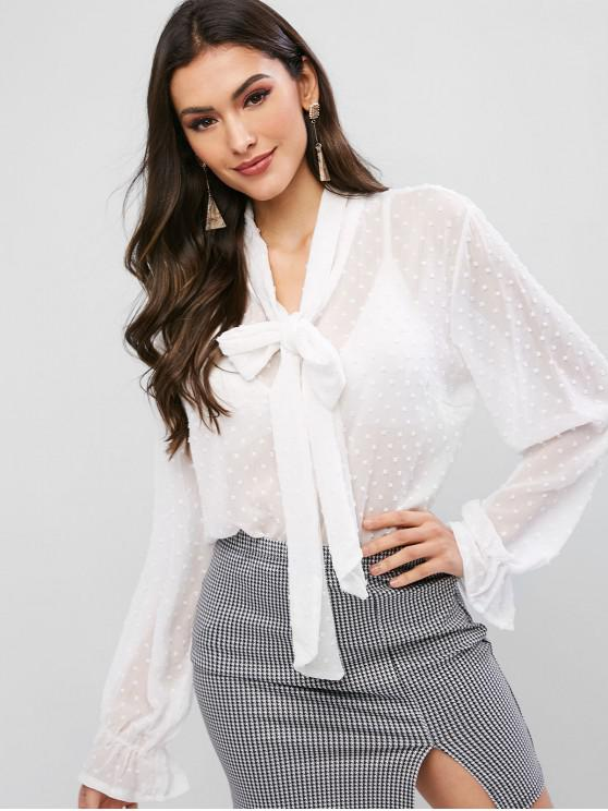 outfit ZAFUL Swiss Dot Ruffled Cuff Chiffon Tied Sheer Blouse - WHITE L