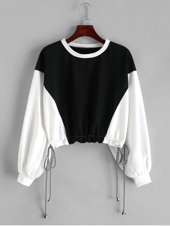 best ZAFUL Two Tone Drop Shoulder Drawstring Cropped Sweatshirt - MULTI M