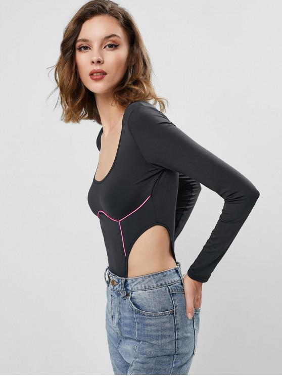 women Neon Panel Snap Button High Cut Bodysuit - DEEP PINK S