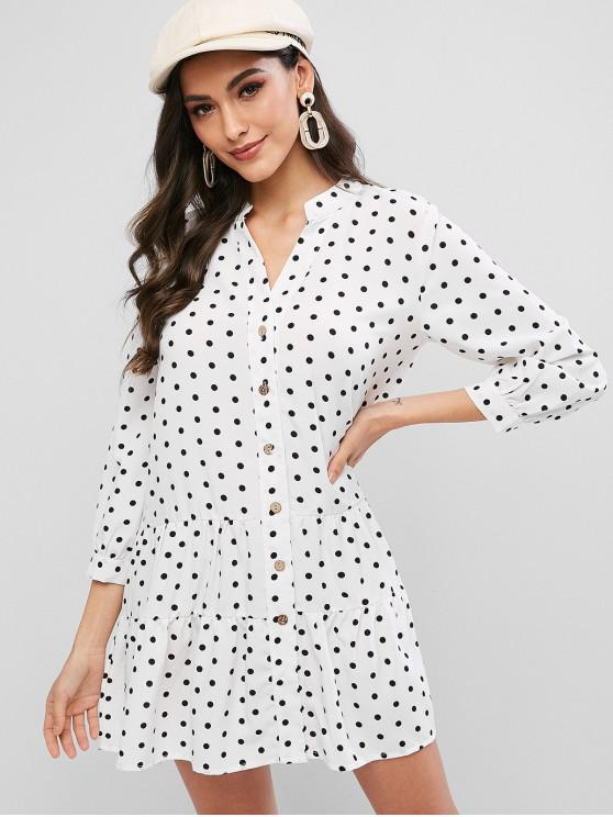 outfit Polka Dot Flounce V Neck Tunic Shirt Dress - WHITE L