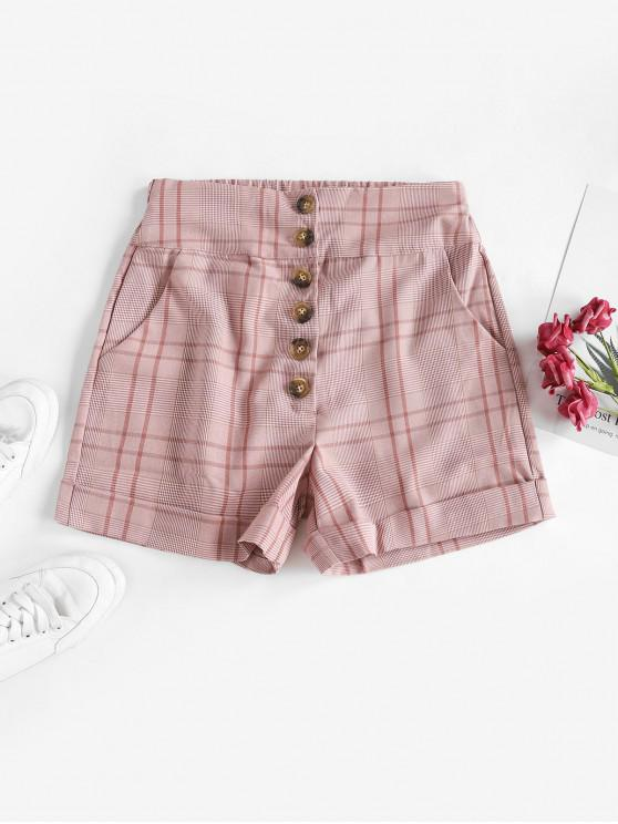 affordable Plaid Button Fly Pocket Cuffed Shorts - PINK XL