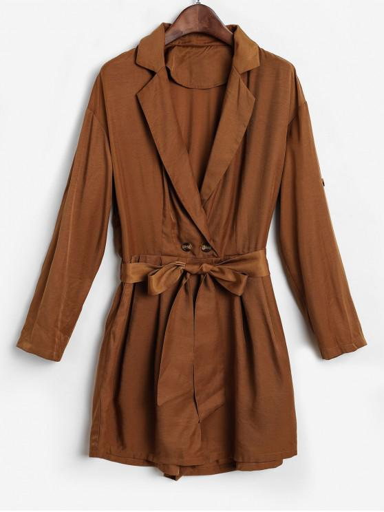 hot ZAFUL Belted Button Rolled Sleeve Romper - CAMEL BROWN M