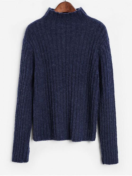 chic ZAFUL Basic Mock Neck Rib Knit Sweater - BLUEBERRY BLUE L