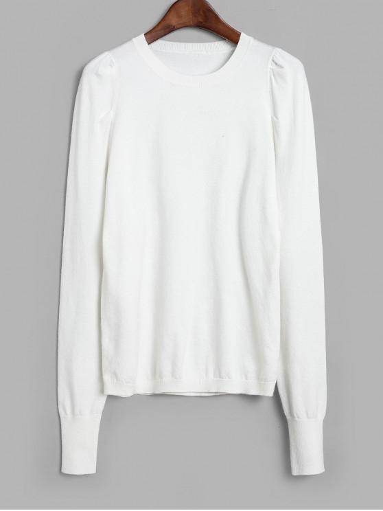 lady Puff Sleeve Crew Neck Sweater - WHITE L