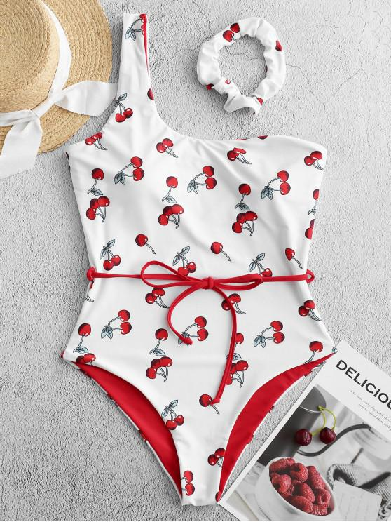 lady ZAFUL Cherry Print One Shoulder Belted One-piece Swimsuit - MULTI-A M