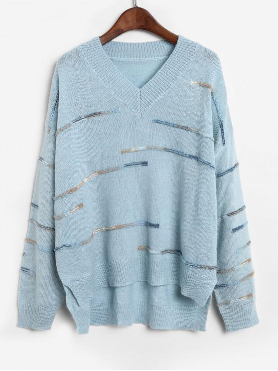 outfits ZAFUL Embellished Side Slit High Low Sweater - BLUE KOI S