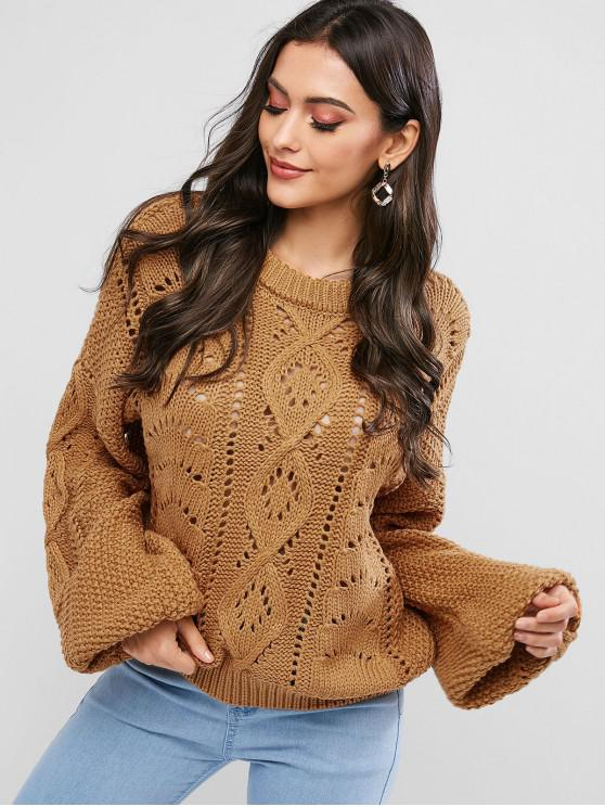 unique Crew Neck Balloon Sleeve Pointelle Knit Sweater - LIGHT BROWN ONE SIZE