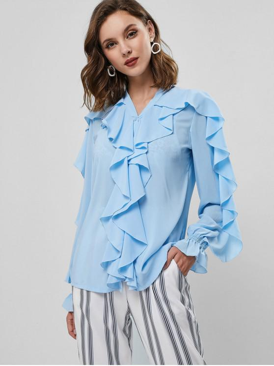 fancy Poet Sleeve Button Up Ruffles Top - BLUE L