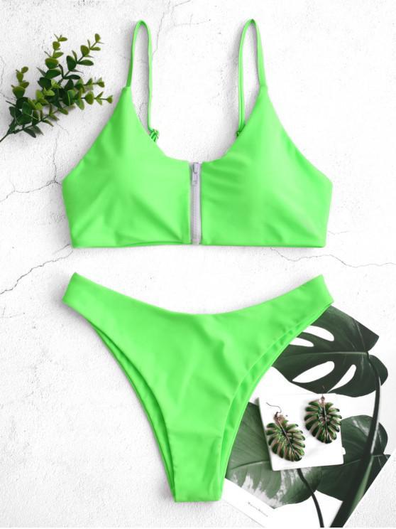 buy ZAFUL Zip Up Neon High Leg Bikini Swimsuit - YELLOW GREEN S