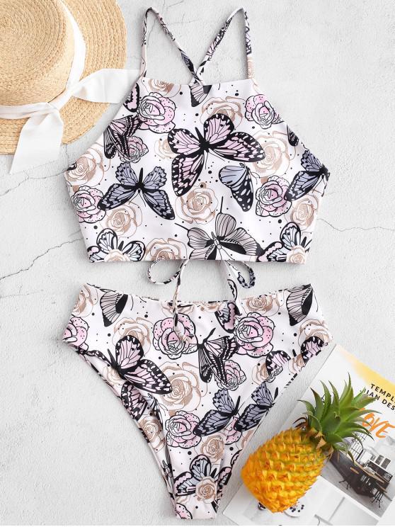 trendy ZAFUL Butterfly Flower Print Cross High Cut Tankini Swimsuit - WHITE XL