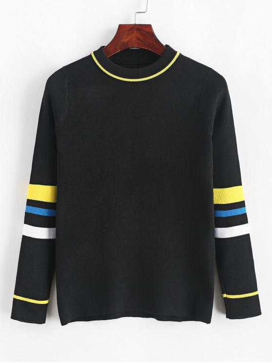 shop Pullover Slim Stripes Panel Crew Neck Sweater - BLACK ONE SIZE