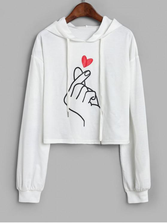 women ZAFUL Finger Heart Graphic Cropped Drawstring Hoodie - WHITE S
