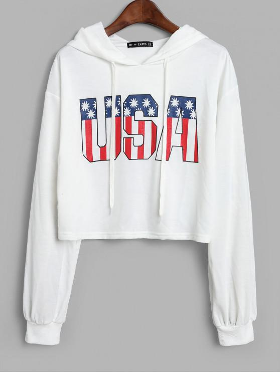 latest ZAFUL USA Graphic Cropped Hoodie - WHITE S