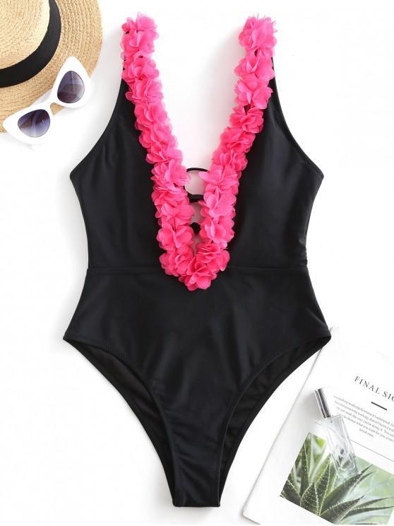 fancy ZAFUL Petal Plunge One-piece Swimsuit - BLACK XL