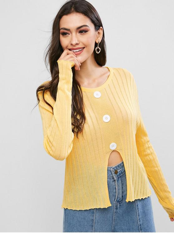 affordable Mock Buttons Front Notched Hem Crew Neck Sweater - YELLOW ONE SIZE