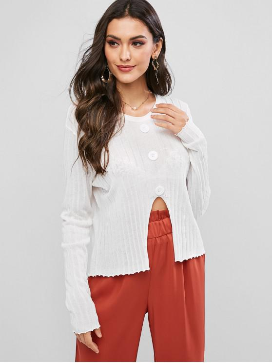 shops Mock Buttons Front Notched Hem Crew Neck Sweater - WHITE ONE SIZE