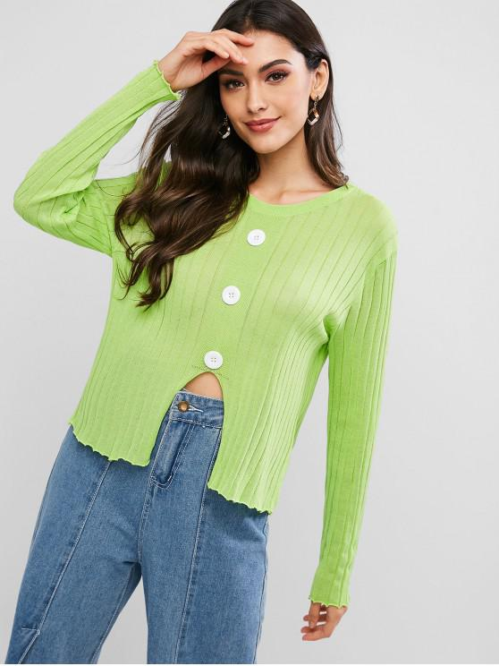 trendy Mock Buttons Front Notched Hem Crew Neck Sweater - GREEN PEAS ONE SIZE