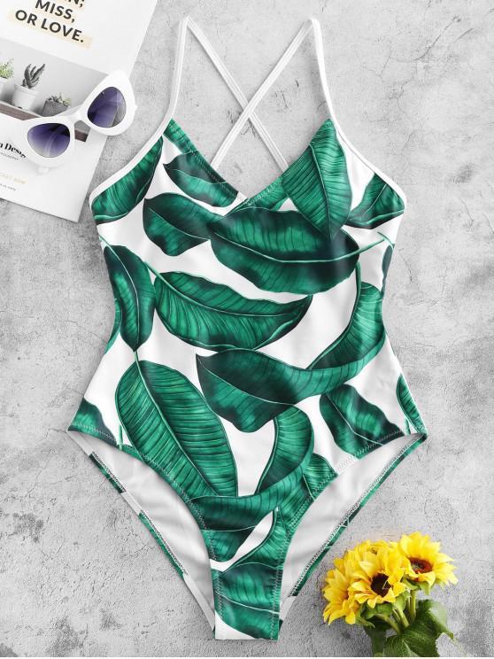 fashion ZAFUL Crisscross Palm Leaf One-piece Swimsuit - WHITE XL
