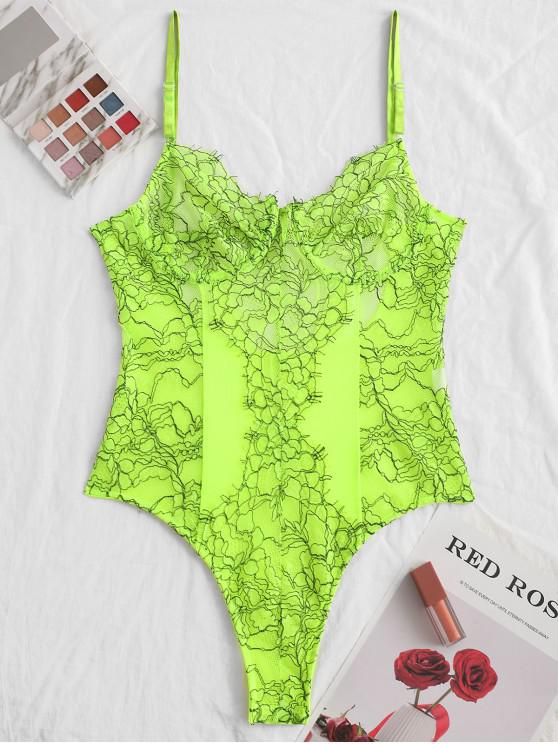 shop Flower Lace Underwire Cutout Lingerie Teddy - GREEN YELLOW M