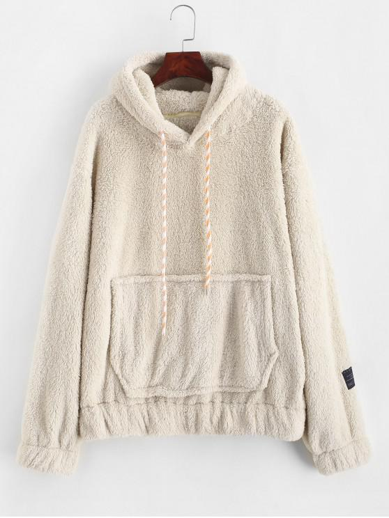 trendy Drawstring Front Pocket Fluffy Faux Shearling Hoodie - BLONDE 2XL