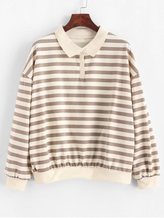shops Drop Shoulder Loose Stripes Half Buttoned Sweatshirt - MULTI M