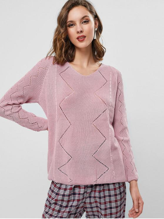 outfit Pointelle Knit Raglan Sleeve Sweater - PINK ONE SIZE
