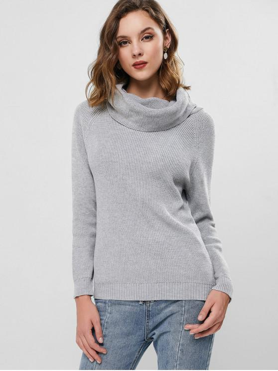 fashion Raglan Sleeve Cowl Neck Knit Sweater - LIGHT GRAY M