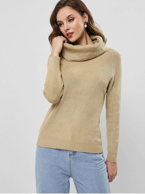 trendy Raglan Sleeve Cowl Neck Knit Sweater - CAMEL BROWN XL