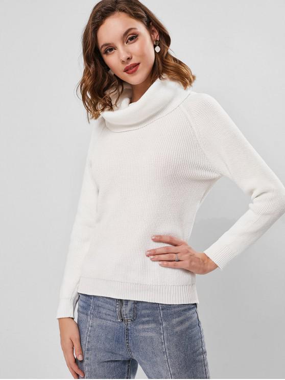 Jersey de punto con cuello vuelto y manga raglán - Blanco M