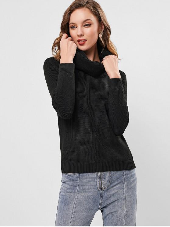 unique Raglan Sleeve Cowl Neck Knit Sweater - BLACK L