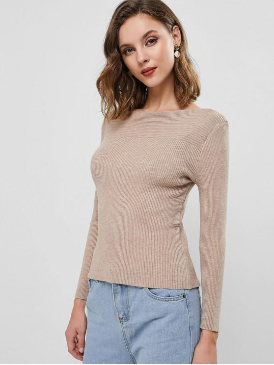 chic Ribbed Knit Boat Neck Slim Sweater - CAMEL BROWN ONE SIZE