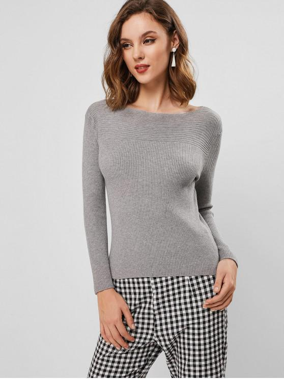 unique Ribbed Knit Boat Neck Slim Sweater - LIGHT GRAY ONE SIZE