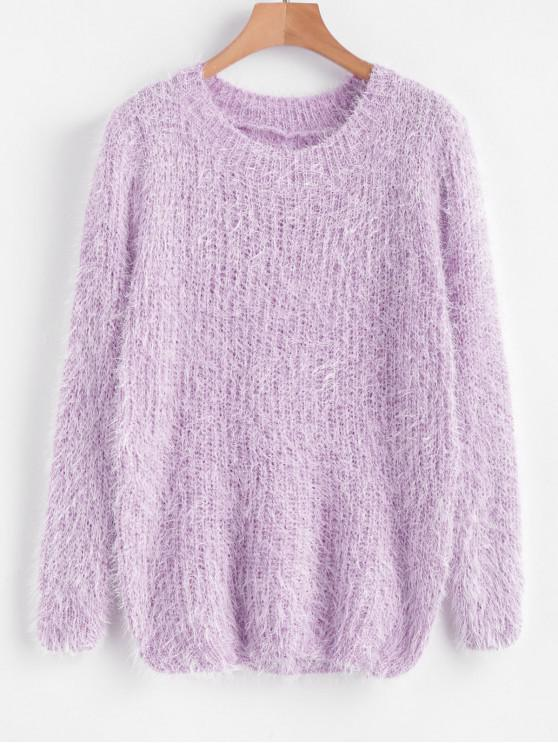lady Crew Neck Plain Fluffy Sweater - PURPLE ONE SIZE