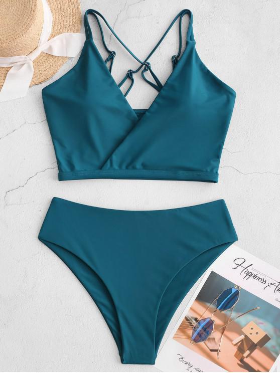 fancy ZAFUL Surplice Criss Cross High Cut Tankini Swimsuit - GREENISH BLUE L