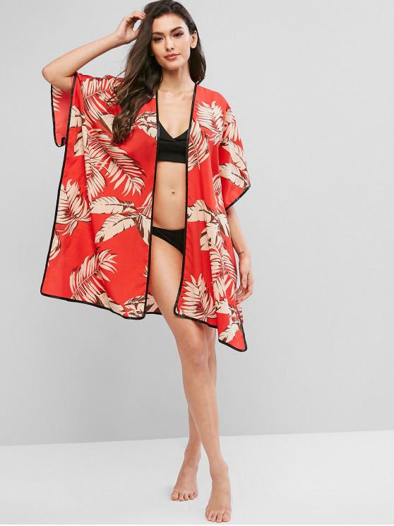 shop ZAFUL Leaf Batwing Sleeve Kimono Cover Up - VALENTINE RED L