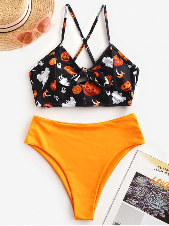 ZAFUL Halloween -Pumpkin - Tankini-Badeanzug mit Schnürung und Hohem Bein - Multi-A L