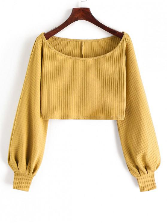 outfits Lantern Sleeve Ribbed Cropped Top - BEE YELLOW M