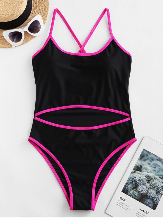 chic ZAFUL Piping Cutout Cross High Cut One-piece Swimsuit - BLACK XL