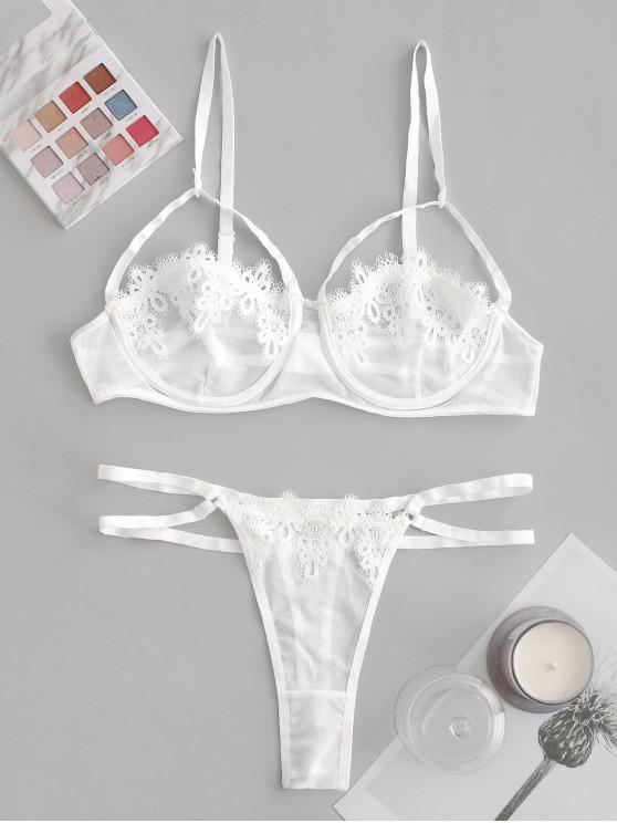 buy Guipure Lace Strappy Sheer Lingerie Set - WHITE S