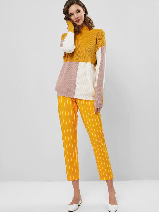 Drop Shoulder Mock Neck Color Block Pullover Sweater - Bee Yellow L | ZAFUL