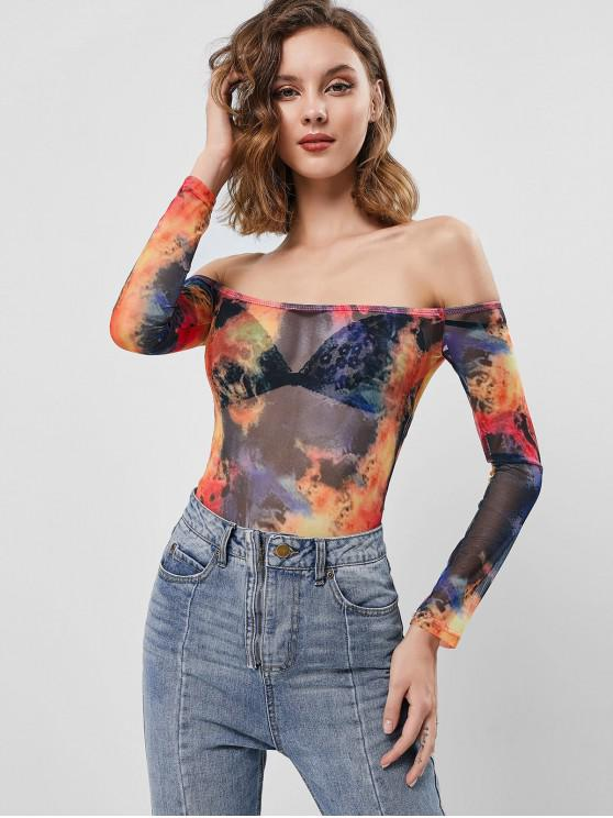 best Tie Dye Off Shoulder Mesh See Thru Bodysuit - MULTI M