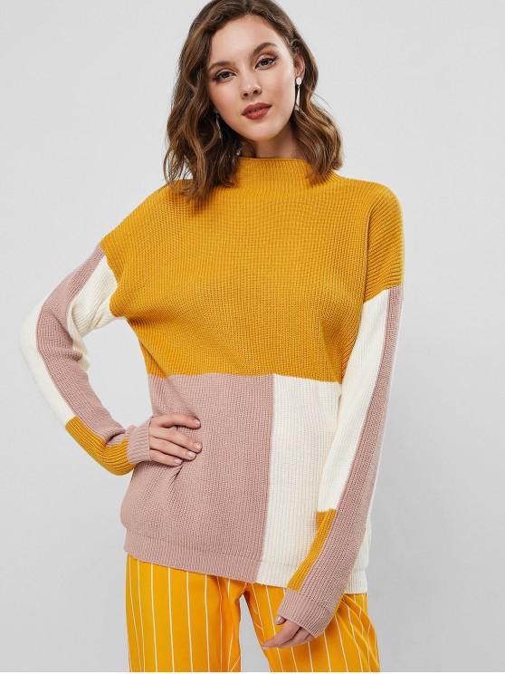 Плечо падения Моск воротник Цветной блок Пуловер Свитер - Пчела-желтый S