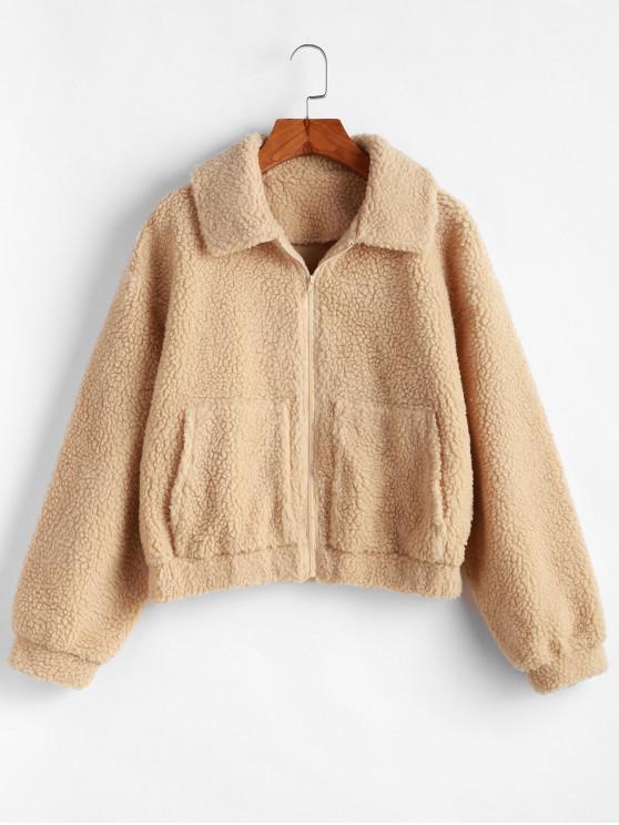 lady ZAFUL Zip Up Drop Shoulder Fluffy Faux Shearling Coat - LIGHT KHAKI S