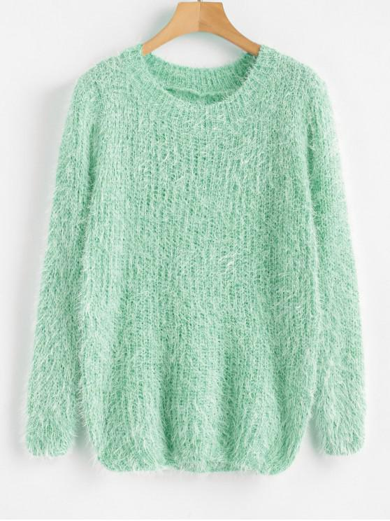 affordable Crew Neck Plain Fluffy Sweater - GREEN ONE SIZE