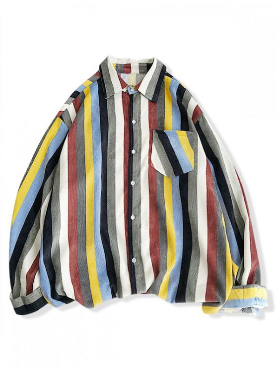 affordable High Low Striped Chest Pocket Shirt - SUN YELLOW M